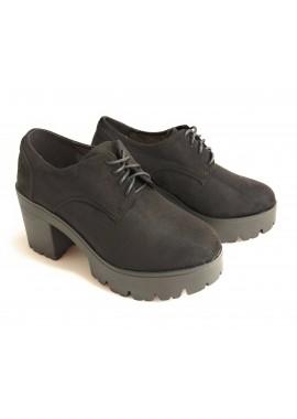 Zapato en cordón, Con plataforma y tacón color Negro